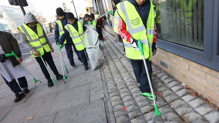 Pupils from London Islamic School out on 'litter patrol' in Commercial Road in November, 2016, helpi