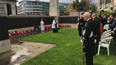 Remembrance Sunday service at Tower Hill Memorial, Trinity Square Gardens. Picture: Alex Shaw