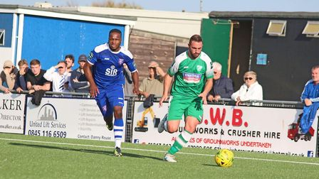 Sammy Moore in action for Leatherhead against Margate in the FA Cup (pic: Dan Eicke Photography).