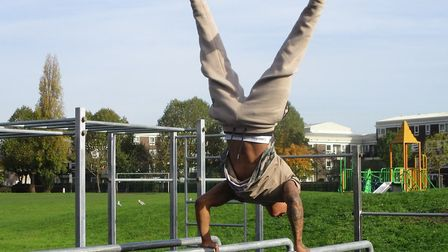 The calisthenics workout at Langdon Park on equipment recycled from knife crime. Picture: Steel Warr