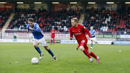 Leyton Orient's James Brophy gets past Macclesfield Town's George Pilkington (pic: Simon O'Connor).