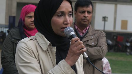 Cllr Rabina Khan, pictured early 2017 at a Whitechapel rally about knife crime, now calling for gove
