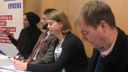 Press conference with Cllr Khan for People's Alliance (left), Lib Dem's Elaine Bagshaw and Tory Andr