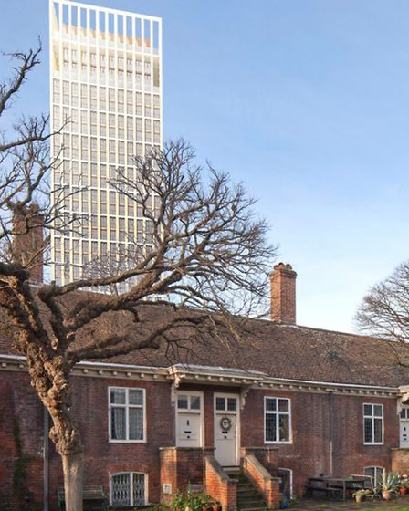 Withdrawn... 28-storey tower overlooking Wren's 1695 Grade I-listed Trinity Green almshouses — but c