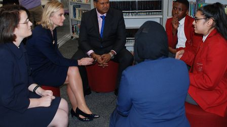Government ministers visiting Swanlea School in Whitechapel to discuss mental health programme with