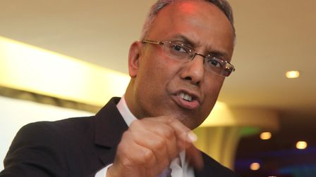 An angry Lutfur Rahman addressing a rally in Mile End of his supporters a week after being barred fr