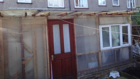 This is the illegal extension that was built at the back of his house in Clutton Street, Poplar. Pi