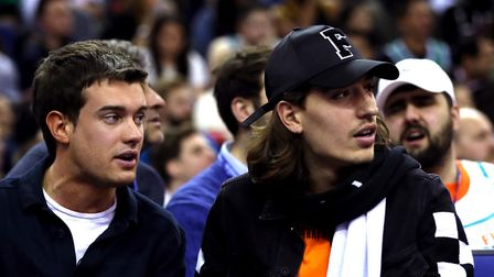 Comedian Jack Whitehall and Arsenal's Hector Bellerin in the crowd during the NBA London Game 2018 a