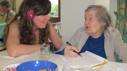 Magic Me�'s manager Clea House meeting veteran East End campaigner Carolyn Merion in 2011 at Stepney