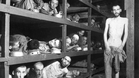 Death camp inmates held by the Nazis to be worked to death or ready for the gas chambers. Picture so
