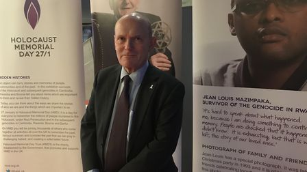 Tower Hamlets Mayor John Biggs is moved by survivors' testimonies when visiting Holocaust touring ex