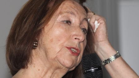 Holocaust survivor Hannah Lewis giving talk to students at Queen Mary University in Mile End in 2014