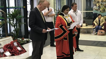 Tower Hamlets Cllr Peter Golds recites the Hebrew 'Yiskah' prayer for the dead at town hall's Holoca