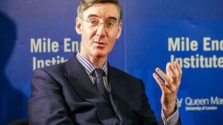 """Jacob Rees-Mogg at Queen Mary University lecture theatre... """"I won't challenge Theresa May for leade"""