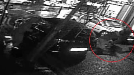 Moment vicitm is dragged from his parked car and robbed of �500 in the street in Old Ford. Picture s