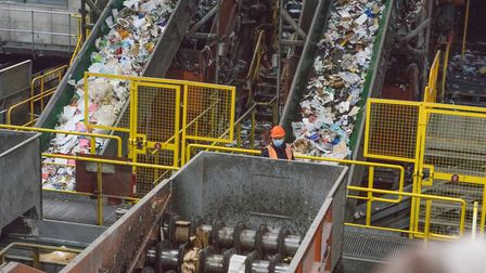 East London's massive Bywater waste recycling plant on banks of the Lea River at Bromley-by-Bow whic