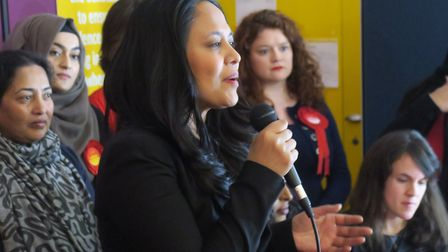 MP Rushanara Ali speaking to a Labour manifesto launch at Bethnal Green on Thursday about being the