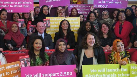 MP Rushanara Ali (centre) with the mayor and Labour women candidates launching their own manifesto f