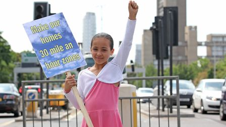 July 2015... Youngster leads 'clean air' campaign by tenants on Poplar Harca housing estate next to