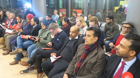 Labour candidates at the party's maifesto launch on Tuesday for Tower Hamlets local elections in Ma