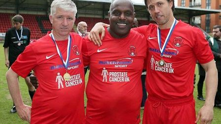 Martin Ling, Errol McKellar and John Mackie after the charity match for Prostate Cancer UK at Brisba