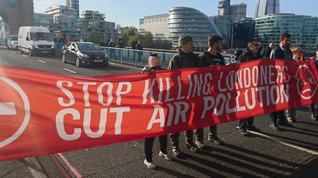 Blockading Tower Bridge... first time 'Stop Killing Londoners' protest group stopped traffic was in