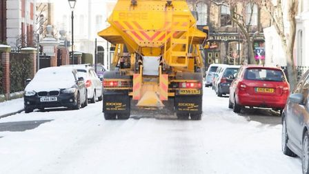 Council gritter lorry in action on the streets of Bow in east London. Picture source: LBTH