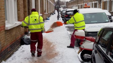 Salting operartion in Bow keeping pavements in the East End clear during the snow. Picture source: L