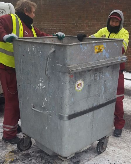 Bin colledctions continue... even when it's snowing. Picture source: LBTH