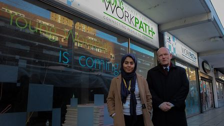 Deputy young mayor Sadia Ahmed and mayor of Tower Hamlets John Biggs. Picture: Tower Hamlets Council