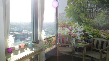 The tea rooms have wall murals, grass and patio furniture to create a calm atmosphere. Picture: Bart