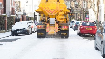 Tower Hamlets Council's snow grit lorry in action in Bow, despite criticism from Aspire opposition t
