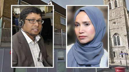Battle of Glamis Hall... Ohid Ahmed clashes with rival candidate for mayor Rabina Khan. Picture sour