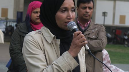 Rabina Khan speaking against knife crime at 2017 Whitechapel rally after Syed Islam's killing. Pictu