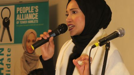 Rabina Khan running for Mayor of Tower Hamlets as People's Alliance against Labour. Picture: Mike Br