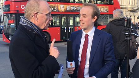 Tory cllr Peter Golds at Parliament Square demo interviewed for TV about anti-Semitism in the Labour