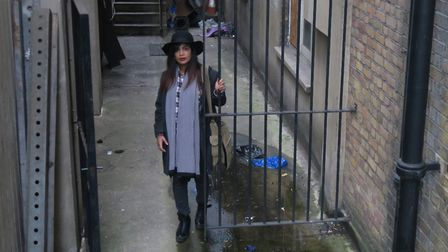 Sydia Nasim in side alley next to Royal London dental hospital where drug addicts lurk at night. Pic