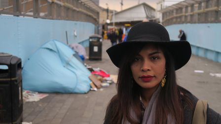 Sydia Nasim and the deprivation on her doorstep in Whitechapel. Picture: Mike Brooke