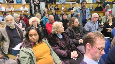 Packed meeting of Isle of Dogs Forum in February, 2017, railing against over development. Picture: M