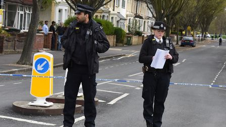 Police at the scene of the stabbing on Chestnut Avenue Forest Gate