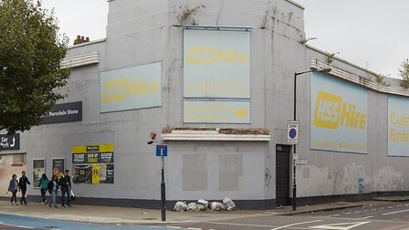 Boarded-up former building trade showroom in the Mile End Road where new Travelodge hotel is to open