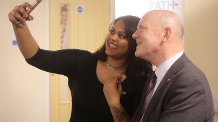 Can't resist a 'selfie' with the mayor... Salma Hussain offered a hotel job through the council's 'w