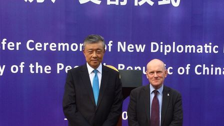 Chinese ambassador Liu Xiaoming posing for that historic picture with Tower Hamlets mayor John Biggs