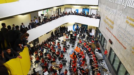 The National Youth Orchestra performing with students at Bow School. Pictures and video: Ken Mears
