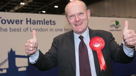 John Biggs at his May 3 win in the election for Tower Hamlets mayor returning him for a second term.