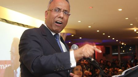 2015... Lutfur Rahman rallies supporters at Water Lillie suite in Mile End soon after his High Court