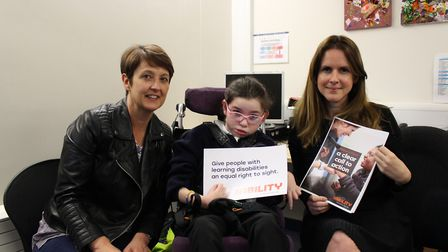 L-R: Mum Alyson Farrell with daughter Ellie and SeeAbility boss Lisa Hopkins. Picture: SEEABILITY