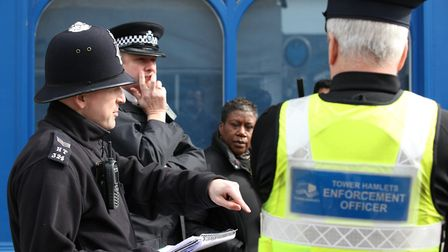 A police 'walkabout' street patrol in Bow. Picture source: LBTH