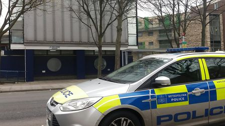 Police at the scene of a fatal stabbing at Galleon House, Isle of Dogs. Picture: Ken Mears
