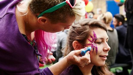 Getting mugged up for street fest fun in Bethnal Green. Picture source: Star of Bethnal Green